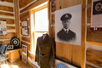 One of the Roy Brown Museum displays dedicated to Capt. A. Roy Brown