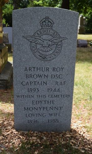 Gravestone of Captain Arthur Roy Brown (1893 - 1944) and his wife, Edythe Moneypenny (1896 - 1988) at the Necropolis Cemetery in Toronto