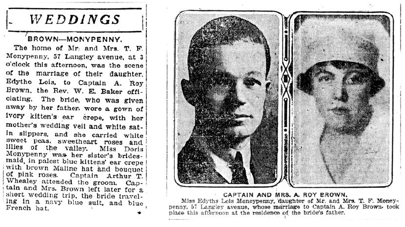 Wedding Announcement - Roy Brown married Edythe Lois Monypenny in Toronto. Feb., 19th, 1920
